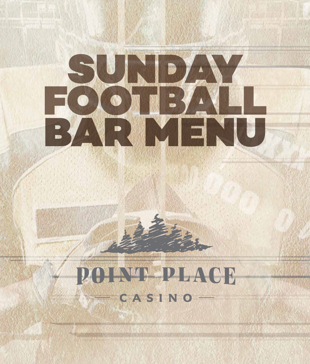Sunday Football Bar Menu